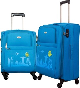 Timus SALSA Ocean Blue 55 & 65 CM 4 Wheel Trolley Suitcase For Travel Set of 2 (Check-in Luggage) Expandable  Check-in Luggage - 25.6 inch