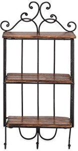 Fabulo Home Decor 3 Shelf Book/ Kitchen Rack With Cloth/Cup Hanger Size(LxBxH-13x5x24) Inch Wooden, Iron Wall Shelf