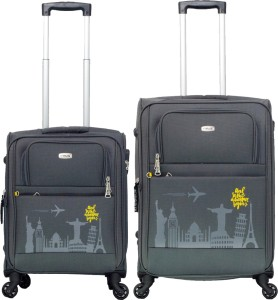 Timus SALSA Graphite 55 & 65 CM 4 Wheel Trolley Suitcase For Travel Set of 2 (Check-in Luggage) Expandable  Check-in Luggage - 25.6 inch