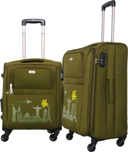 Timus SALSA 55 & 65 CM Military Green 4 Wheel Trolley Suitcase For Travel Set of 2 (Check-in Luggage) Expandable  Check-in Luggage - 25 Inches