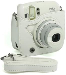 Caiul PU Leather Instax Mini 25 Case White  Camera Bag