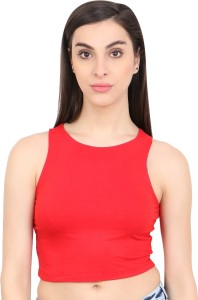 Cation Casual Sleeveless Solid Women Red Top