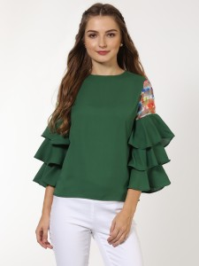 Sassafras Casual Bell Sleeve Solid Women Green Top