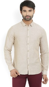 United Colors of Benetton. Men's Solid Casual Beige Shirt