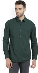 Peter England Men's Solid Casual Dark Green Shirt