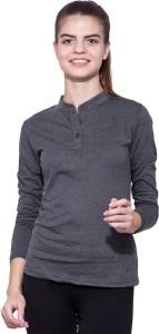 Ap'pulse Solid Women's Mandarin Collar Grey T-Shirt