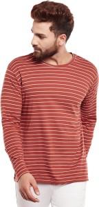 Hypernation Striped Men Round Neck Orange, White T-Shirt