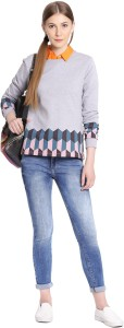 United Colors of Benetton Casual Full Sleeve Printed Women's Grey Top