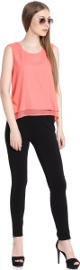 United Colors of Benetton Casual Sleeveless Solid Women's Pink Top