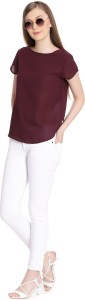 United Colors of Benetton Casual Short Sleeve Solid Women's Maroon Top