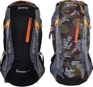 Emerence 1021 Rucksack, Hiking Backpack 75Lts (Black & Camouflage) Set of 2 Rucksack  - 75 L