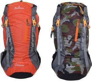 Emerence 1021 Rucksack, Hiking Backpack 75Lts (Orange & Camouflage) Set of 2 Rucksack  - 75 L