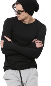 PAUSE Solid Men's Round Neck Black T-Shirt