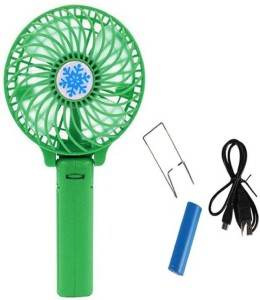 Tuelip High Speed Mini Wireless Rechargeable   Portable Multi Functional Hand With USB Fan  Green  Emergency Light Green