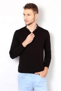 b25e7d8b2e Van Heusen Solid Men Henley Black T Shirt Best Price in India   Van ...