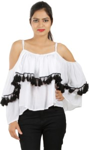 Secret Bazaar Party Full Sleeve Solid Women's White Top