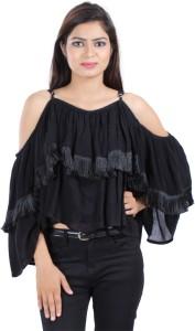 Secret Bazaar Party Full Sleeve Solid Women's Black Top