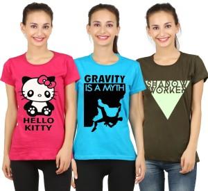 Hotfits Graphic Print Women's Round Neck Multicolor T-Shirt