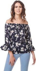 Wiser Casual 3/4th Sleeve Floral Print Women's Blue Top