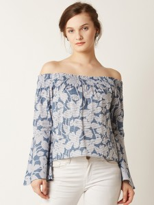 Miss Chase Casual Full Sleeve Printed Women's Blue, White Top