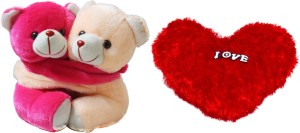 AKSHAT COMBO OF TWIN TEDDY WITH HEART SHAPE PILLOW (MULTICOLOR)  - 8 inch