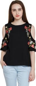 Rare Casual Half Sleeve Solid Women Black Top