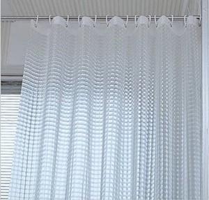 Yellow Weaves PVC White Self Design Ring Rod Shower Curtain