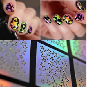 stz Self Adhesive Star Pattern Nail Stencil and Vinyl multicolor