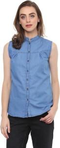 Mayra Women's Solid Casual Denim Blue Shirt