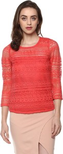 Mayra Casual 3/4th Sleeve Solid Women Orange Top