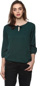Mayra Casual 3/4th Sleeve Solid Women Green Top