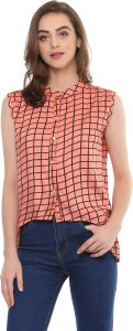 Mayra Casual Sleeveless Checkered Women Orange Top