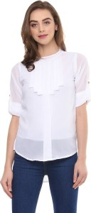 Mayra Casual Roll-up Sleeve Solid Women White Top