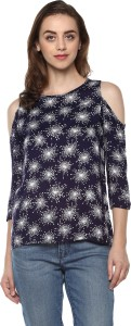 Mayra Casual 3/4th Sleeve Printed Women Blue Top