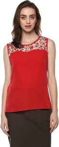 Mayra Casual Sleeveless Floral Print Women Red Top