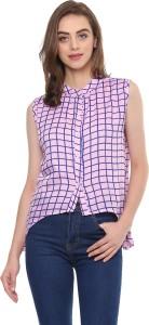 Mayra Casual Sleeveless Checkered Women Pink Top