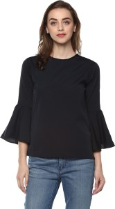 Mayra Casual Bell Sleeve Solid Women Black Top