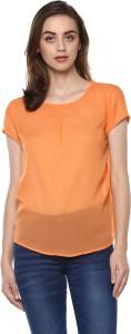 Mayra Casual Half Sleeve Solid Women Orange Top