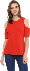 Mayra Casual Half Sleeve Solid Women Red Top