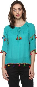 Mayra Casual 3/4th Sleeve Solid Women Blue Top