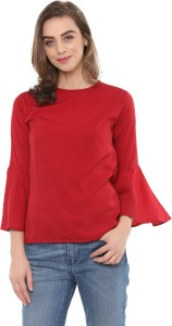 Mayra Casual Bell Sleeve Solid Women Red Top