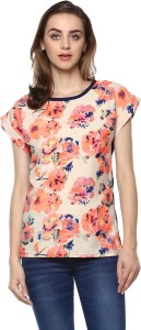 Mayra Casual Cape Sleeve Floral Print Women Pink Top
