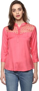 Mayra Casual 3/4th Sleeve Solid Women Pink Top