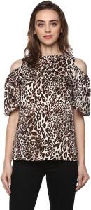 Mayra Casual Half Sleeve Animal Print Women Multicolor Top