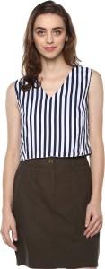 Mayra Casual Sleeveless Striped Women Blue Top