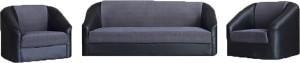 Westido Maxi Fabric 3 + 1 + 1 Black & Grey Sofa Set