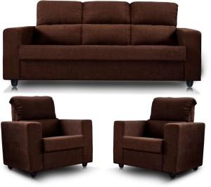 Westido Confort King Fabric 3 + 1 + 1 Brown Sofa Set