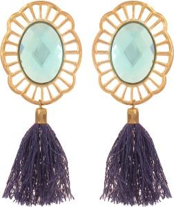 GoldNera Blue Shining Glittering Stone Blue Tassel Pair Of Party Wedding Occasion Wear Earrings For Women Girls Bollywood Alloy Tassel Earring