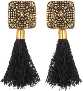 GoldNera Antique Golden Ethnic Fusion Tassel Trend Setter Stupendous Designer Earrings For Women Girls Red Carpet Alloy Tassel Earring