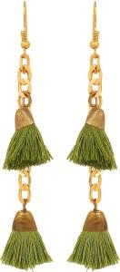 GoldNera Tassel Green Stylish Small Hanging Chain Dangle Party Style Earrings For Women Girls By GoldNera Alloy Tassel Earring